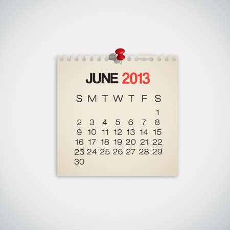 2013 Calendar June Old Torn Paper Vector