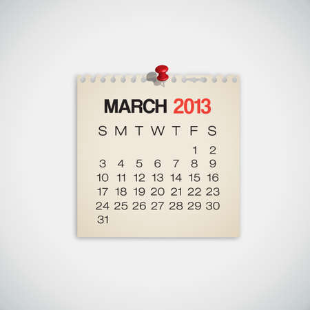 2013 Calendar March Old Torn Paper Vector Stock Vector - 16173429