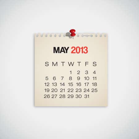 2013 Calendar May Old Torn Paper Vector Stock Vector - 16173419