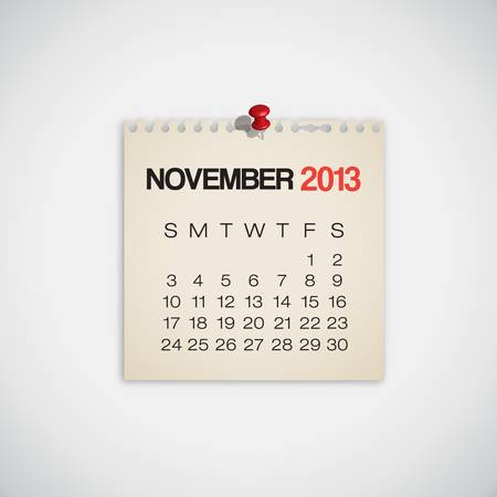 2013 Calendar November Old Torn Paper Vector Stock Vector - 16173437