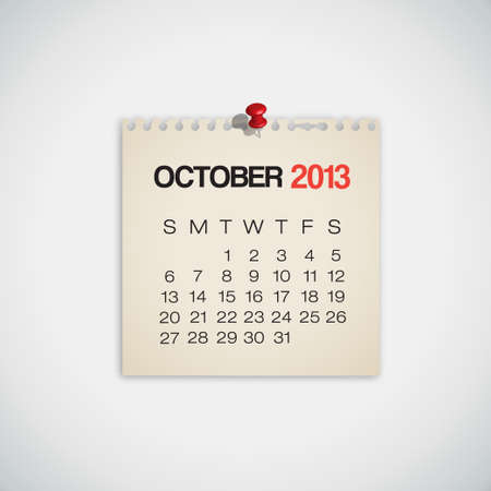 2013 Calendar October Old Torn Paper Vector Stock Vector - 16173448