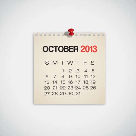 kalender oktober: 2013 Kalender oktober Old Torn Paper Vector
