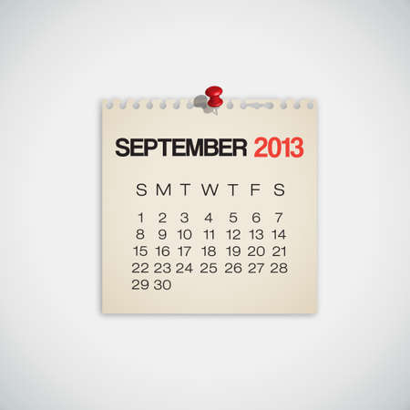 2013 Calendar September Old Torn Paper Vector Stock Vector - 16173445