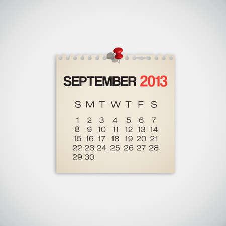 Calendario Septiembre 2013 Old Vector papel rasgado Vectores