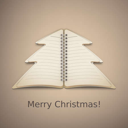 Merry Christmas Tree Notebook Vector Vector