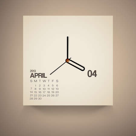 2013 Calendar April Clock Design Vector Vector