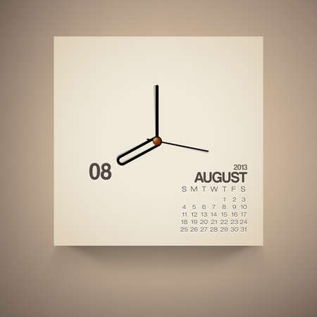 2013 Calendar August Clock Design Vector Vector