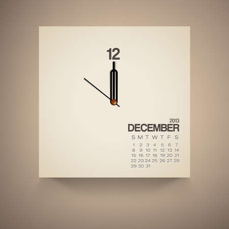 2013 Calendar December Clock Design Vector