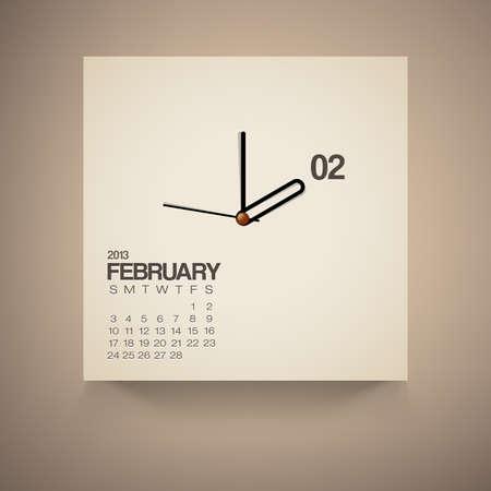 2013 Calendario Reloj febrero de dise�o vectorial