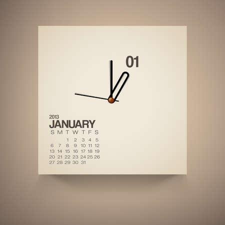 Calendario enero 2013 Reloj de dise�o vectorial