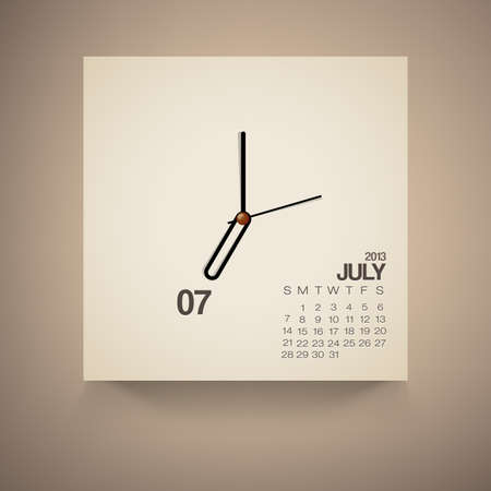 2013 Calendar July Clock Design Vector Stock Vector - 16173505