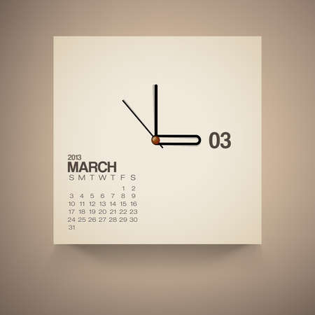 2013 Calendar March Clock Design Vector Stock Vector - 16173535