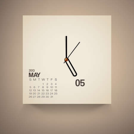2013 Calendar May Clock Design Vector Vector