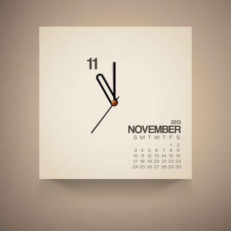 2013 Calendar November Clock Design Vector Stock Vector - 16173503