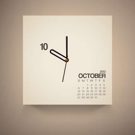 2013 Calendar October Clock Design Vector Stock Vector - 16173559