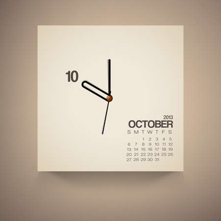 2013 Calendar October Clock Design Vector Illustration