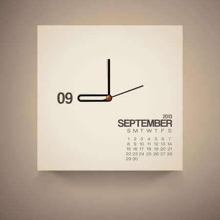 2013 Calendar September Clock Design Vector Vector