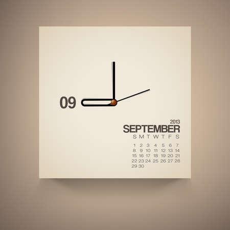 2013 Calendario Reloj septiembre de dise�o vectorial