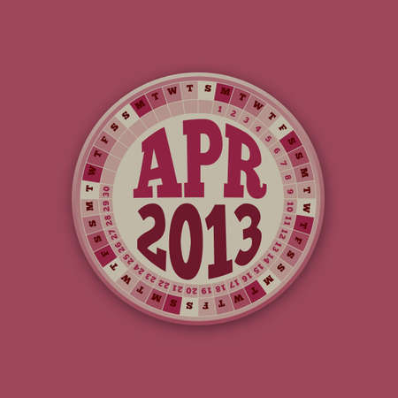 roulette layout: Roulette Wheel Design 2013 Calendar April  Illustration