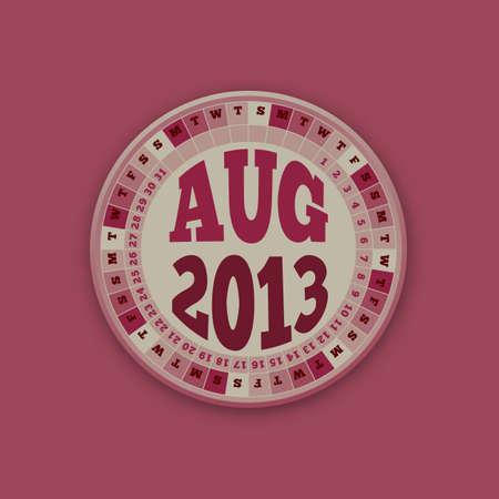 Roulette Wheel Design 2013 Calendar August Stock Vector - 16418568