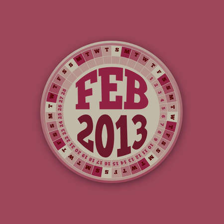 Roulette Wheel Design 2013 Calendar February  Vector