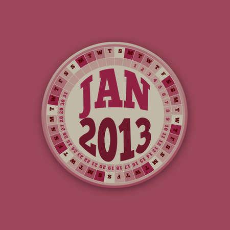 Roulette Wheel Design 2013 Calendar January  Stock Vector - 16418520