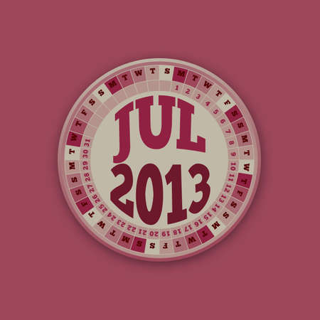 Roulette Wheel Design 2013 Calendar July  Vector