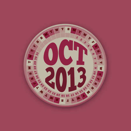 Roulette Wheel Design 2013 Calendar October Stock Vector - 16418001