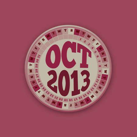 kalender oktober: Roulette Wheel Ontwerp 2013 Kalender oktober
