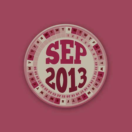 Roulette Wheel Design 2013 Calendar September Stock Vector - 16418539