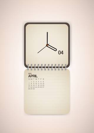 2013 Calendar April Clock Design Vector Stock Vector - 17750797