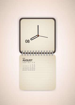 2013 Calendar August Clock Design Vector Vector