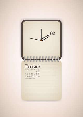 2013 Calendar February Clock Design Vector Stock Vector - 17750800