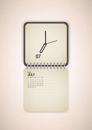 2013 Calendar July Clock Design Vector Stock Vector - 17750799