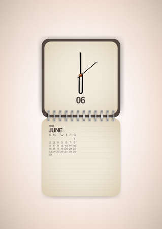 2013 Calendar June Clock Design Vector Stock Vector - 17750803
