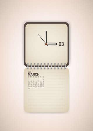2013 Calendar March Clock Design Vector Stock Vector - 17750805