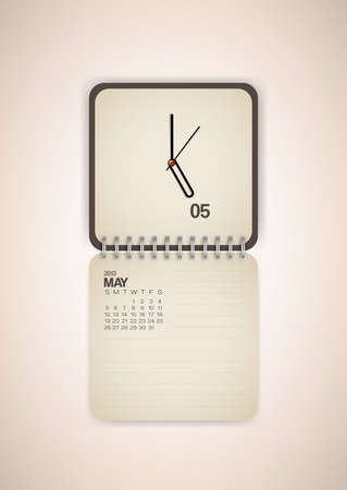 2013 Calendar May Clock Design Vector Stock Vector - 17750804