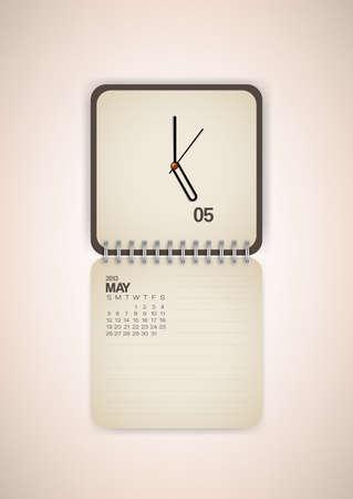 2013 Calendar May Clock Design Vector Stock Vector - 17750804