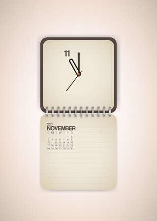 2013 Calendar November Clock Design Vector Stock Vector - 17750801
