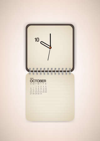 2013 Calendar October Clock Design Vector Stock Vector - 17750776