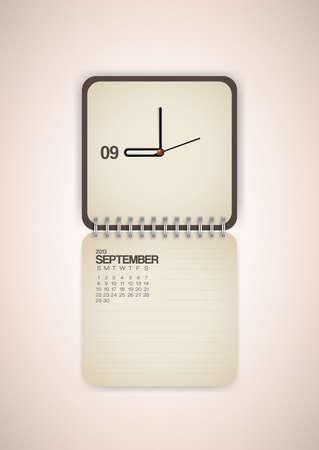 2013 Calendar September Clock Design Vector Stock Vector - 17750764