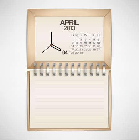2013 Calendar April Clock Design Vector Stock Vector - 17750765