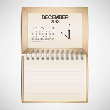 2013 Calendar December Clock Design Vector Stock Vector - 17750769