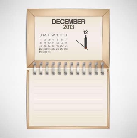 2013 Calendar December Clock Design Vector Stock Vector - 17750769