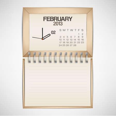 2013 Calendar February Clock Design Vector Stock Vector - 17750774