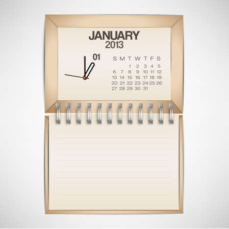 2013 Calendar January Clock Design Vector Stock Vector - 17750766