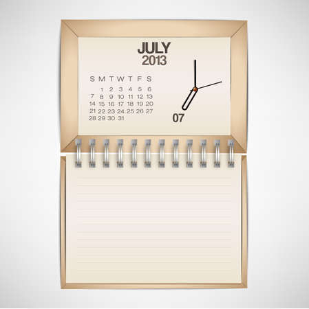 2013 Calendar July Clock Design Vector Stock Vector - 17750779