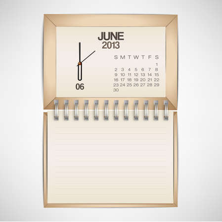 2013 Calendar June Clock Design Vector
