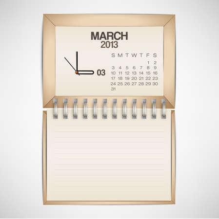 2013 Calendar March Clock Design Vector Stock Vector - 17750775