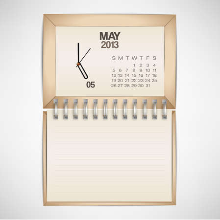 2013 Calendar May Clock Design Vector Stock Vector - 17750771
